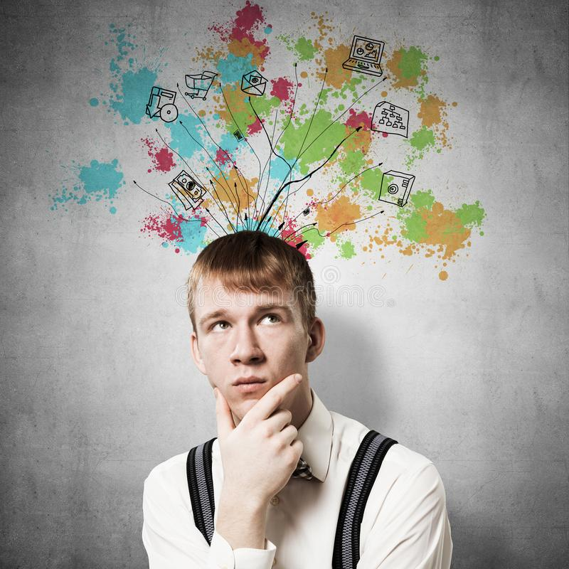 Thoughtful redhead student planning your day royalty free stock photo