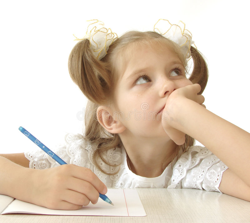 Thoughtful schoolgirl royalty free stock photos