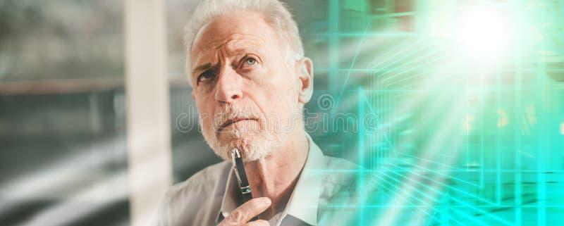 Thoughtful senior businessman; multiple exposure royalty free stock image