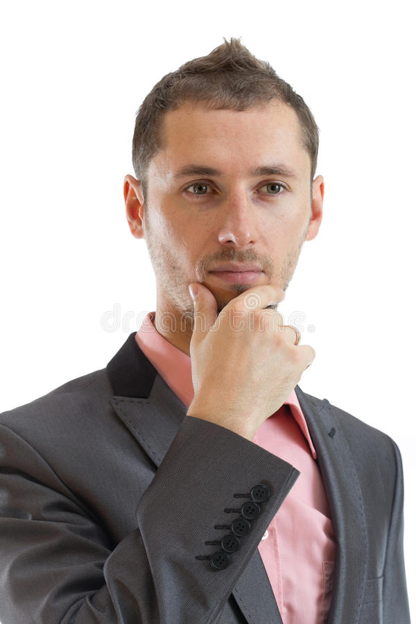 Thoughtful suit tie businessman royalty free stock photos