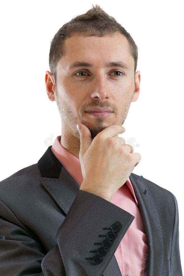 Thoughtful suit tie businessman royalty free stock image