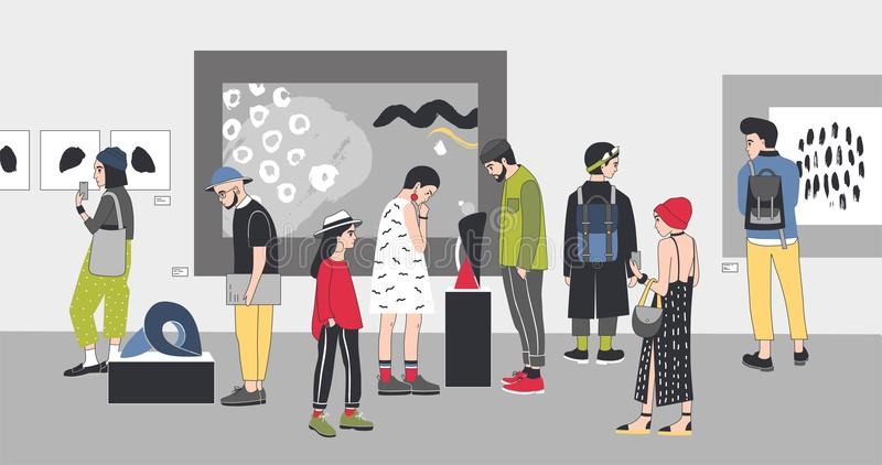 Thoughtful visitors of contemporary art gallery viewing exhibits. Pensive people dressed in stylish clothing looking at vector illustration