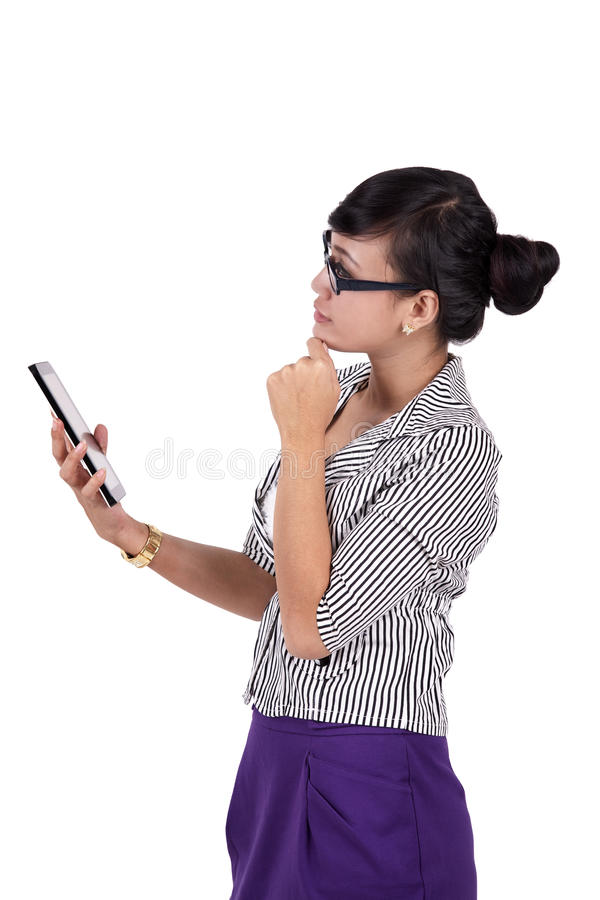 Download Thoughtful Woman With IPad Tablet Stock Image - Image: 24285283