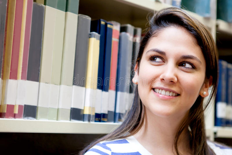Download Thoughtful Woman At The Library Stock Image - Image: 25449503