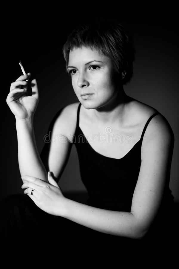 Download Thoughtful woman smoking stock image. Image of healthcare - 20138133
