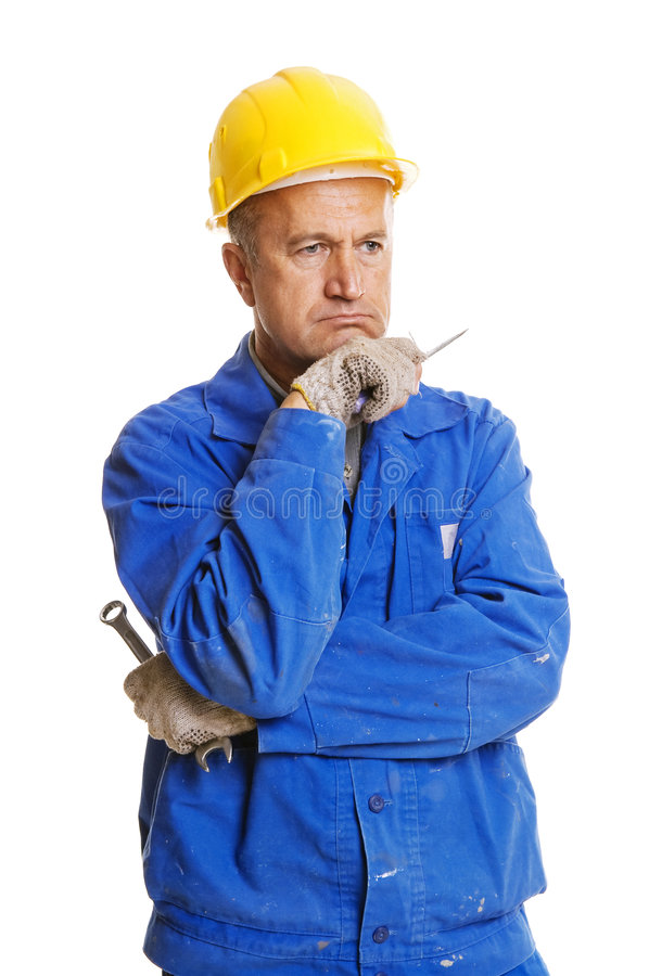 Download Thoughtful Workman With Tools Stock Image - Image of protection, senior: 6548511