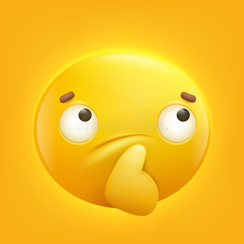Thoughtful yellow smiley emoji emoticon icon royalty free illustration