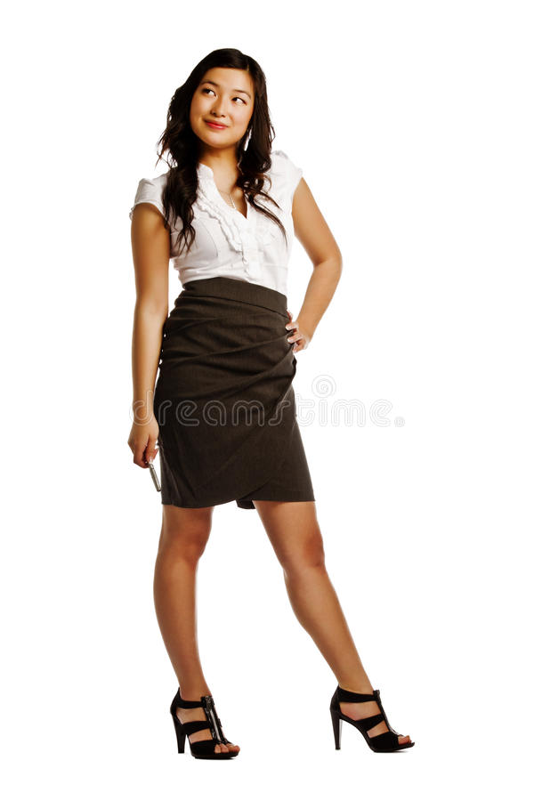 Free Thoughtful Young Asian Business Woman Royalty Free Stock Photography - 23503977