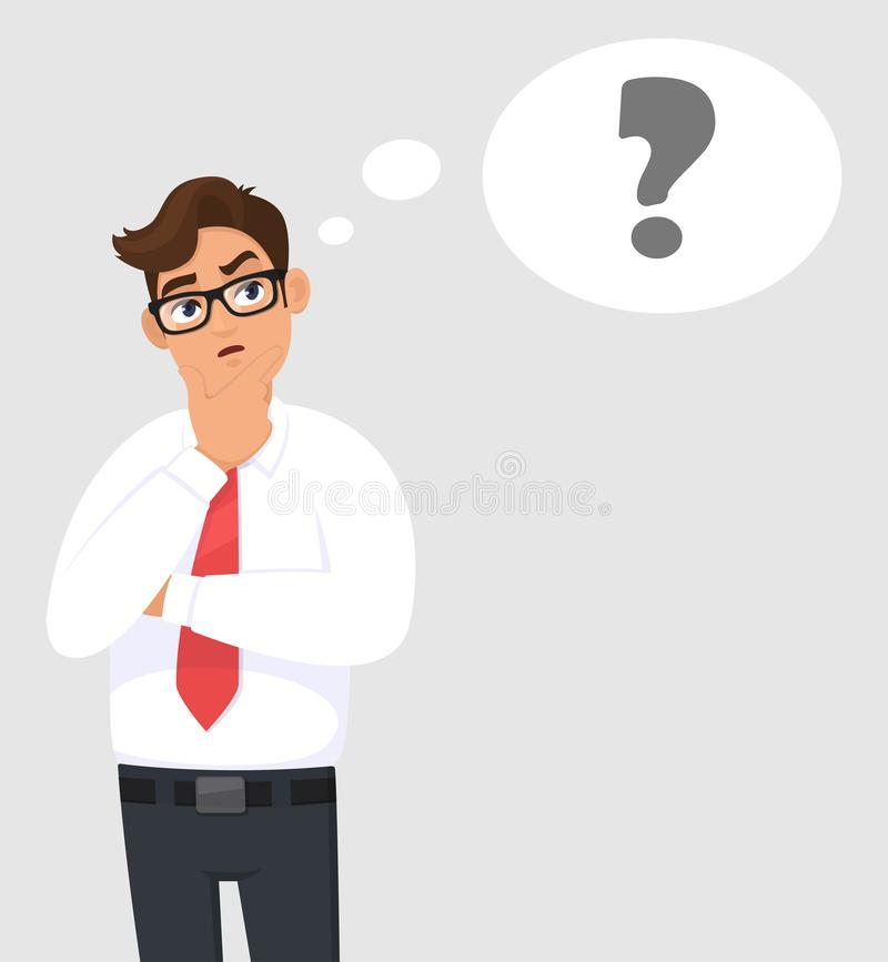Thoughtful young business man is thinking and looking up. Question mark in the thought bubble. Human emotion, facial expression. vector illustration