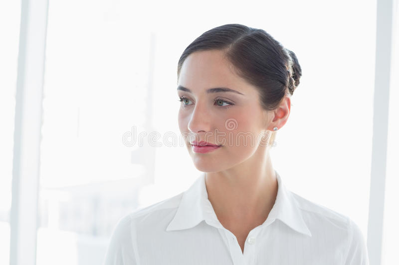 Thoughtful Young Business Woman Looking Away Royalty Free Stock Photo