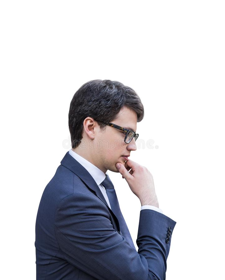 Thoughtful young businessman in glasses, isolated royalty free stock images