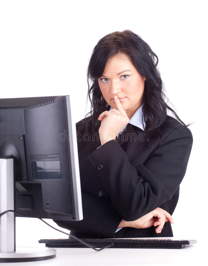 Download Thoughtful Young Businesswoman With Computer Stock Photo - Image: 19017436