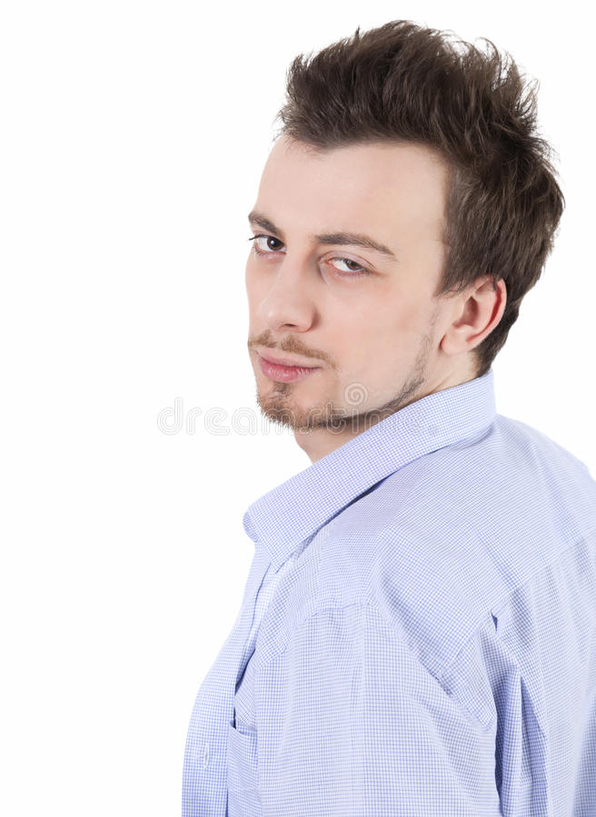Thoughtful Young Man Looking At The Camera Stock Photos