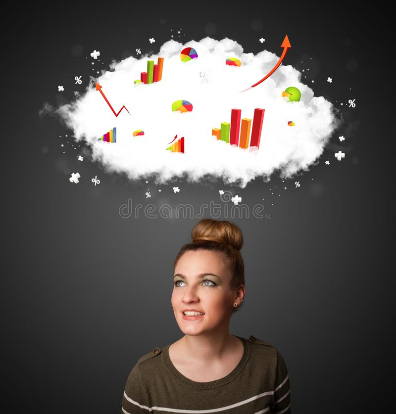 Young woman with cloud and charts concept. Thoughtful young woman with cloud and charts concept royalty free stock image