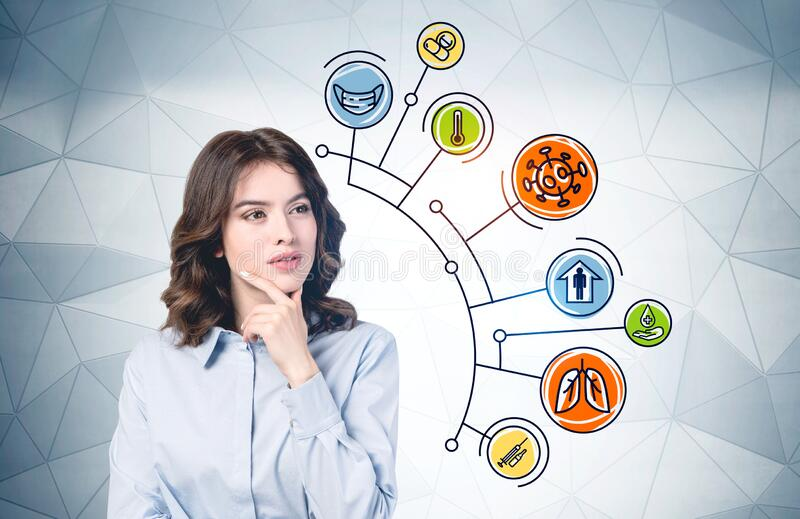 Thoughtful young woman, coronavirus icons. Beautiful young European woman with long wavy hair thinking about coronavirus standing near grey wall with colorful royalty free stock photo
