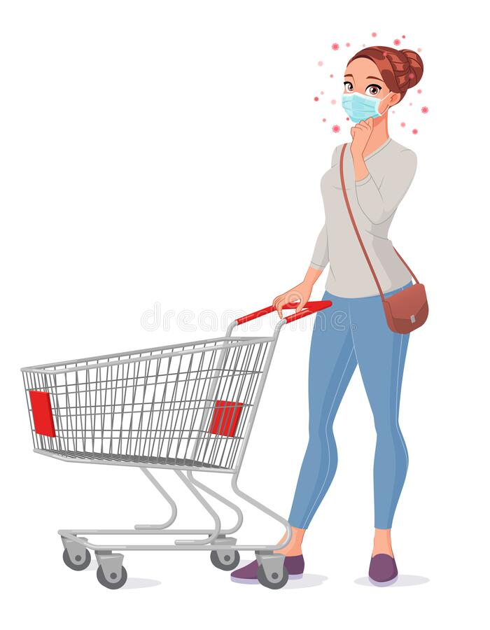 Free Thoughtful Young Woman In Mask With Shopping Cart. Isolated Vector Illustration. Stock Image - 178517621