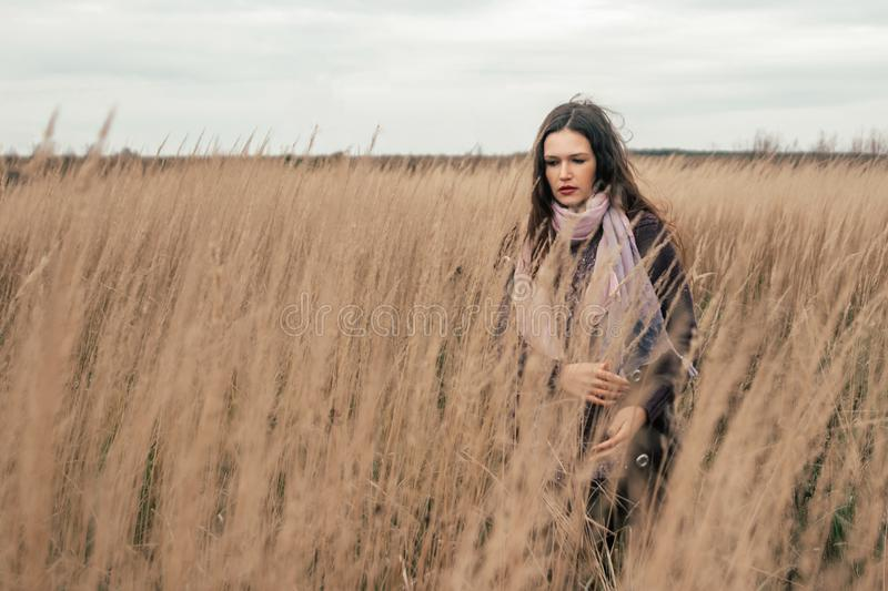 Thoughtful young woman looking at ripe ears of wheat. royalty free stock images