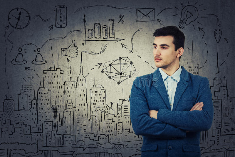 Thoughtfully look businessman royalty free stock photography