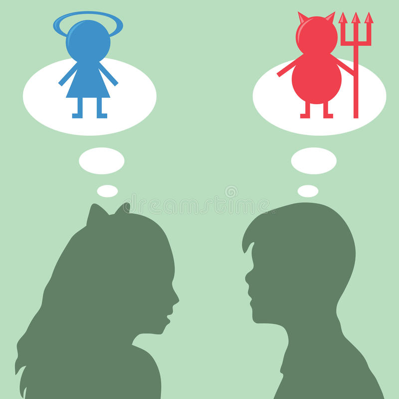 Thoughts. Silhouettes of boy and girl with thoughts stock illustration