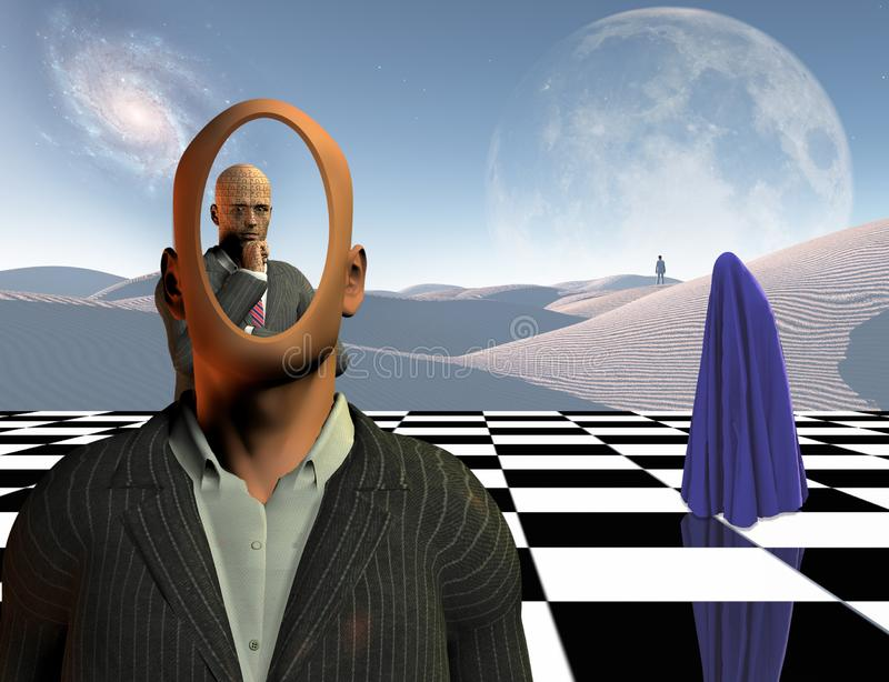 Thoughts and combinations. Surrealism. Faceless businessman with another thinking businessman behind him stands on chessboard. Lonely man in a distance. White stock photos