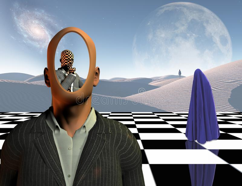 Thoughts and combinations. Surrealism. Faceless businessman with another thinking businessman behind him stands on chessboard. Lonely man in a distance. White vector illustration