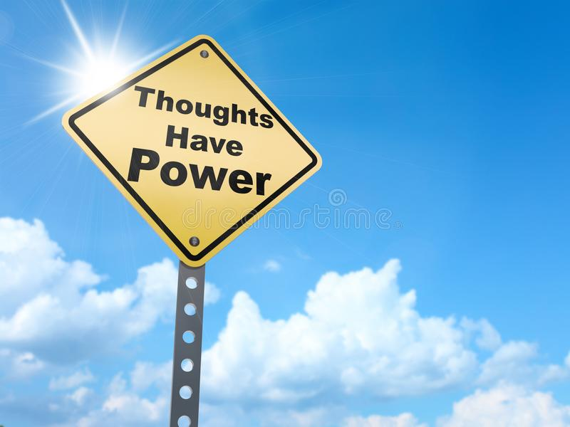 Thoughts have power sign. On blue sky background,3d rendered stock illustration