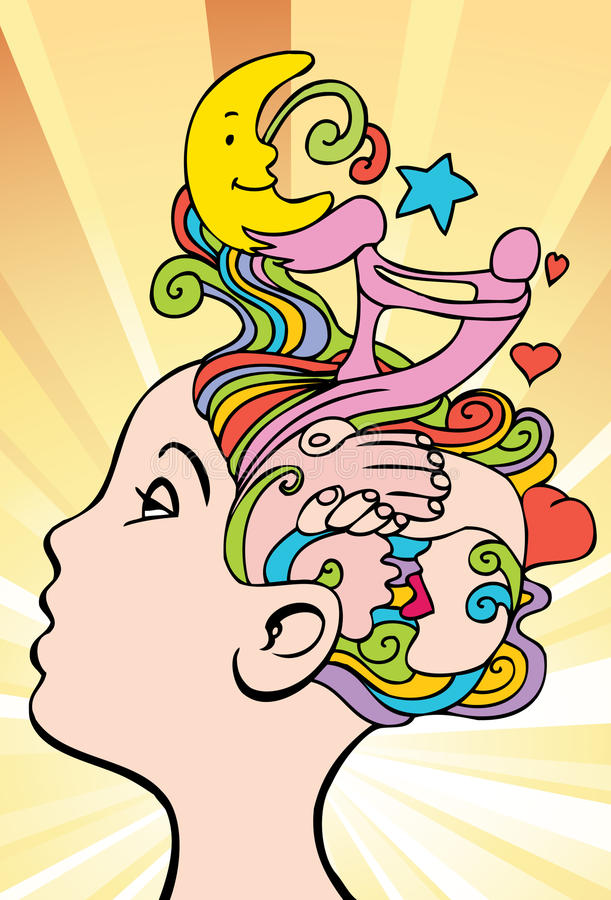 Thoughts of Love. An image of a woman having loving thoughts royalty free illustration