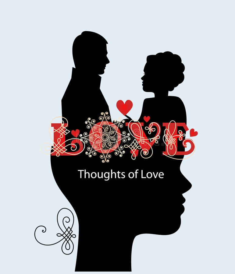 Download Thoughts of love couple stock vector. Image of date, profile - 38519647