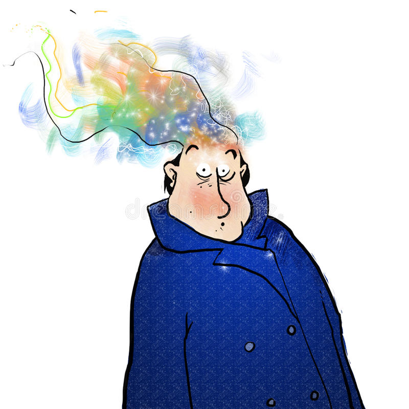 Thoughts. Man in coat with wild smoke like thoughts royalty free illustration
