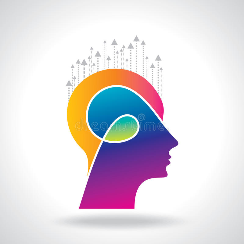 Thoughts and options. vector illustration of head with arrows. Thoughts and options. vector illustration of head with, arrows stock illustration