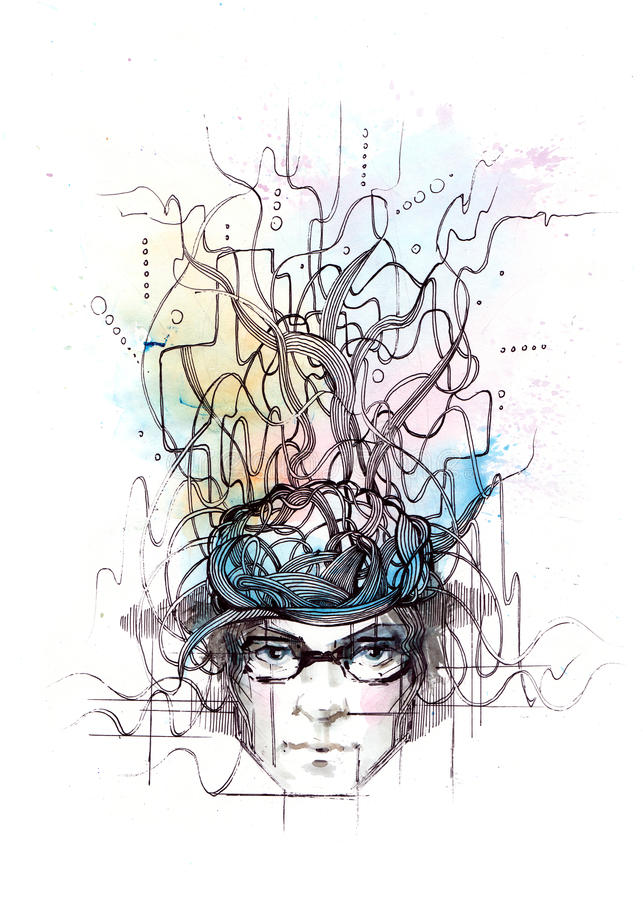 Thoughts. Painting of stream of human thoughts vector illustration
