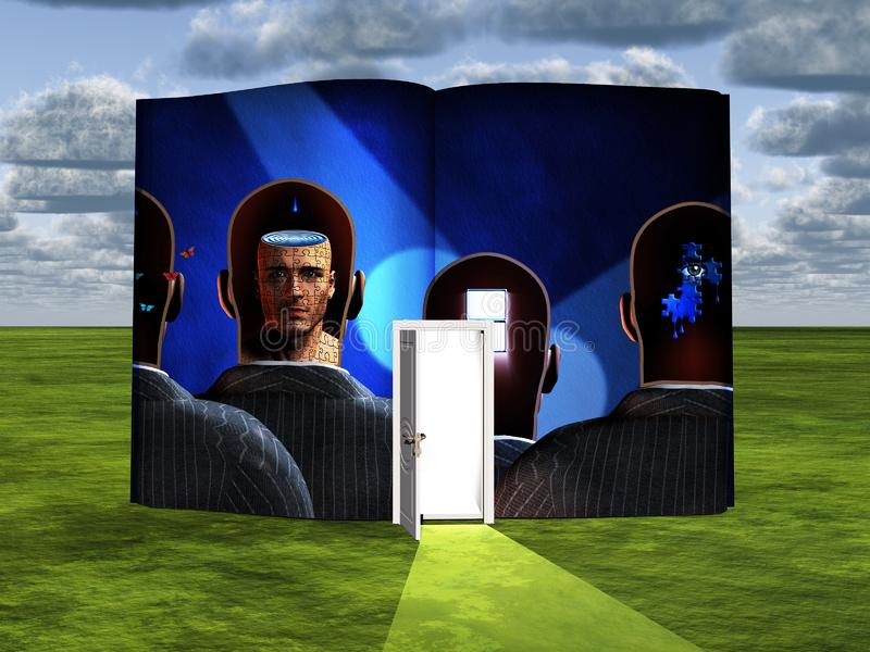 Thoughts. Surrealism. Book with opened door and thoughts in men`s heads. Human elements were created with 3D software and are not from any actual human royalty free illustration