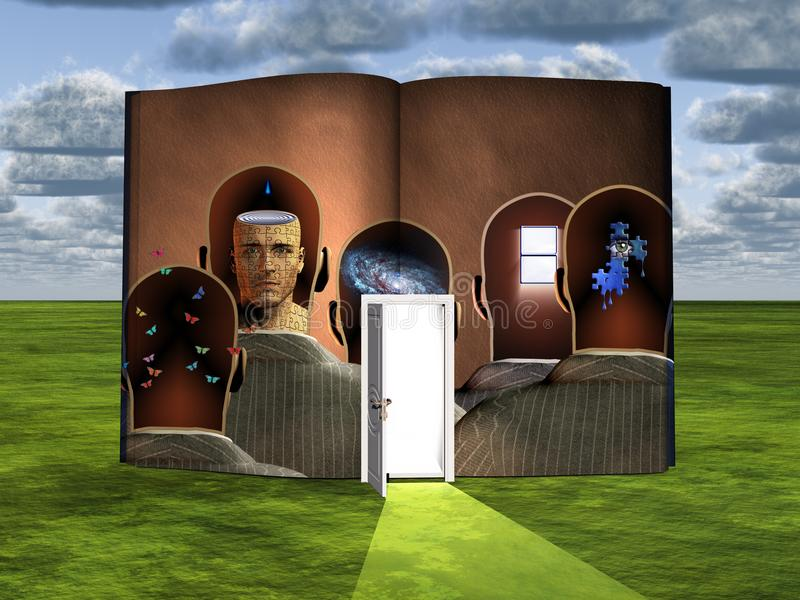Thoughts. Surrealism. Book with opened door and thoughts in men`s heads. Human elements were created with 3D software and are not from any actual human stock illustration