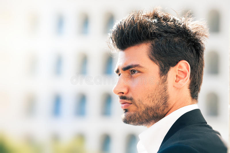 Thoughts and vision of young man. Foresight royalty free stock image