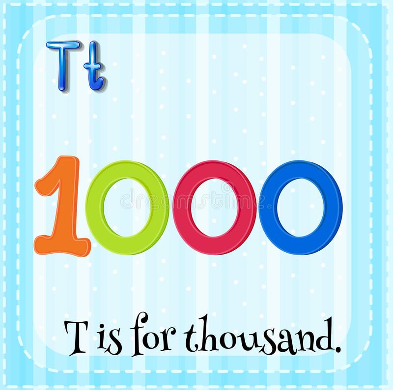 Thousand. Flashcard letter T is for thousand stock illustration
