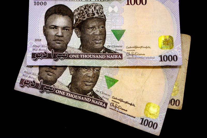 Nigerian money, one thousand Nigerian Naira bank notes, isolated on a plain black background. royalty free stock images