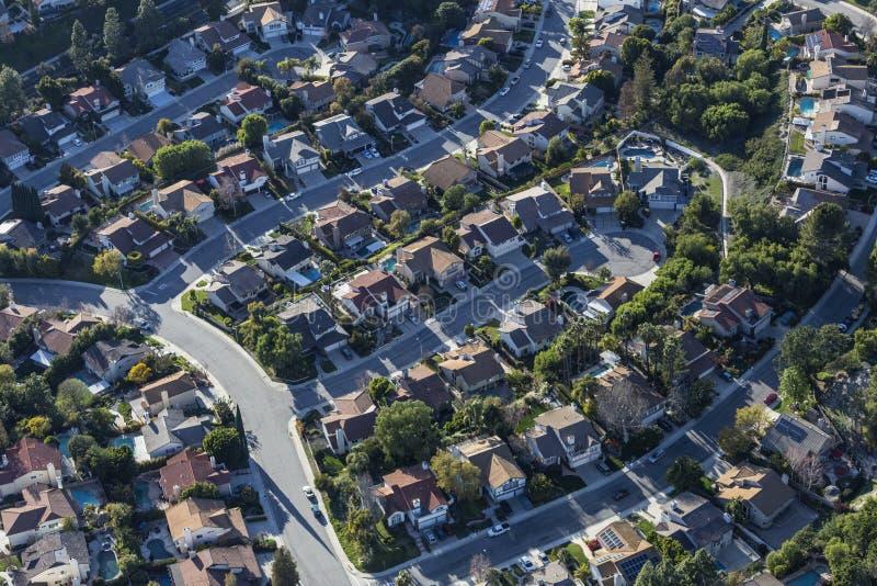 Thousand Oaks Kalifornien förorts- Cul de säck Returnera antenn arkivbild
