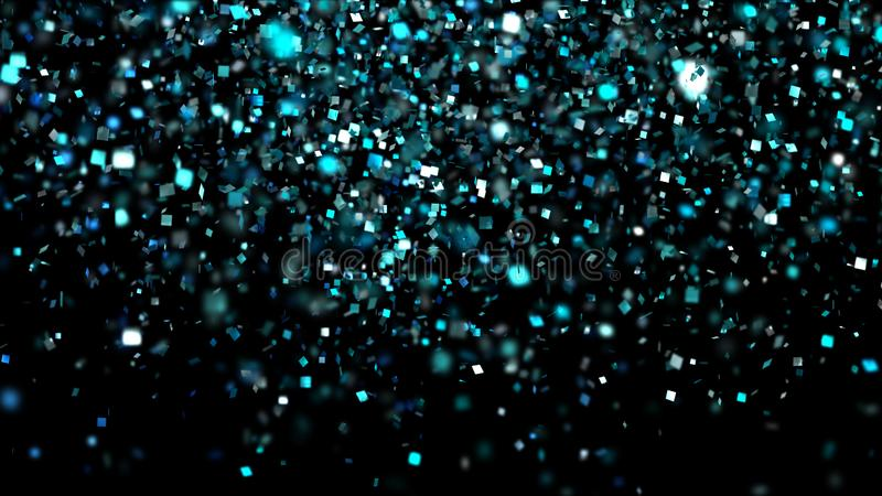 Thousands of confetti fired on air during a festival at night. royalty free stock images