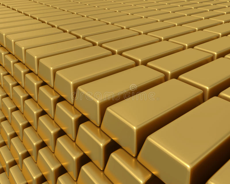 Thousands of gold bullion bars piled high. 3D illustration of thousands of gold bullion bars piled high representing enormous weath or assets vector illustration