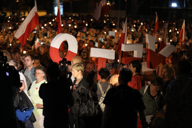 Thousands of government opponents protested in Cracow against new judicial reforms and future plans to change the Supreme Court. C. Racow. Poland stock photo