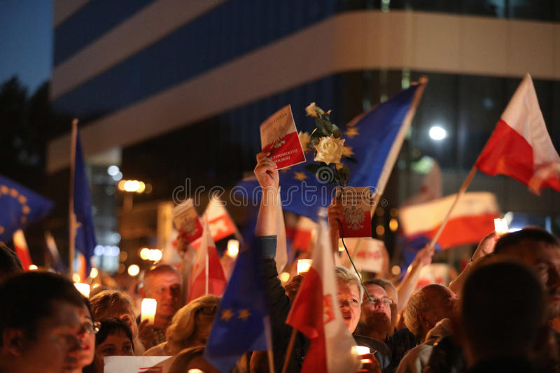 Thousands of government opponents protested in Cracow against new judicial reforms and future plans to change the Supreme Court. C. Racow. Poland royalty free stock image
