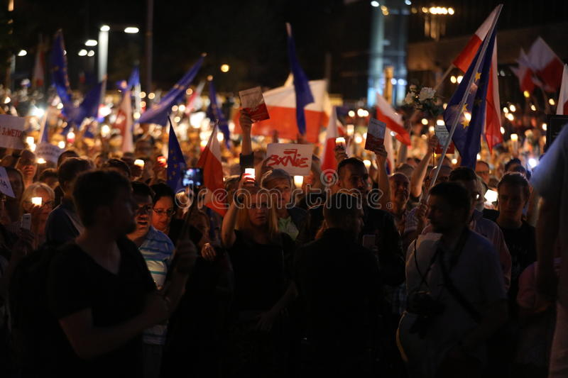 Thousands of government opponents protested in Cracow against new judicial reforms and future plans to change the Supreme Court. C. Racow. Poland stock images