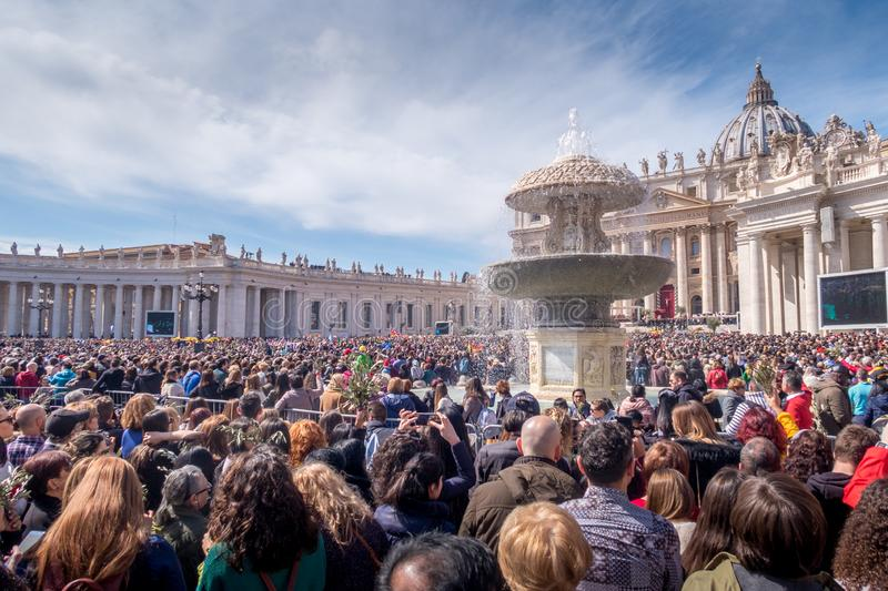 Thousands of people during a mass at the Vatican stock image