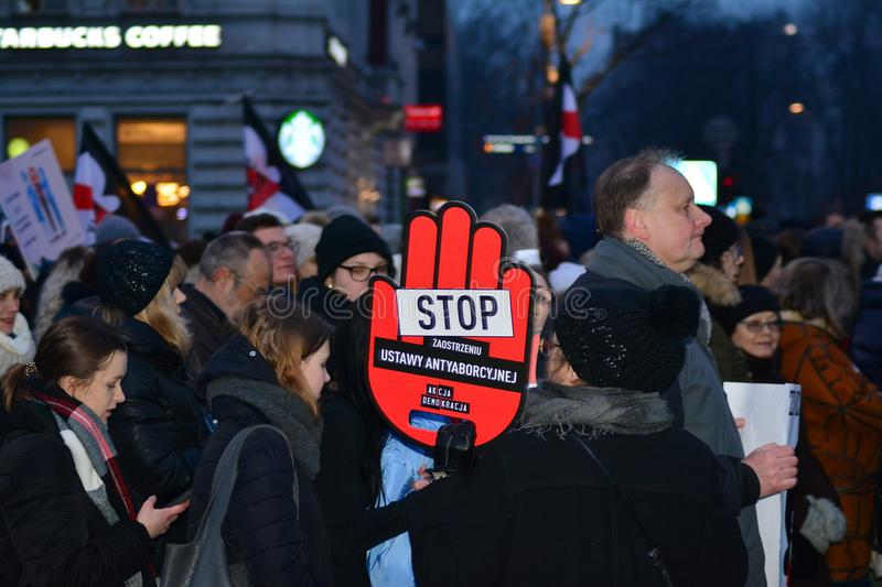 Thousands of people protests in Warsaw stock image