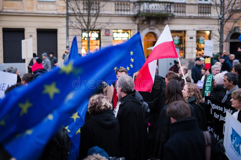 Polish judges silent rally to defend Polish justice. Marsz Tysiaca Tog. March of a thousand gowns royalty free stock images