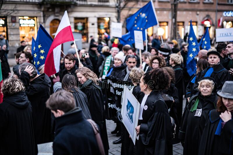 Polish judges silent rally to defend Polish justice. Marsz Tysiaca Tog. March of a thousand gowns royalty free stock photos