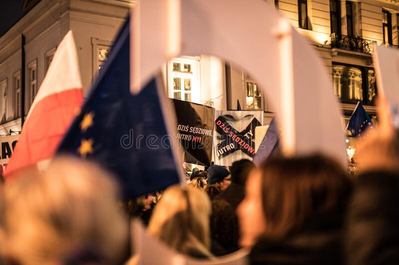 Polish judges silent rally to defend Polish justice. Marsz Tysiaca Tog. March of a thousand gowns stock photos