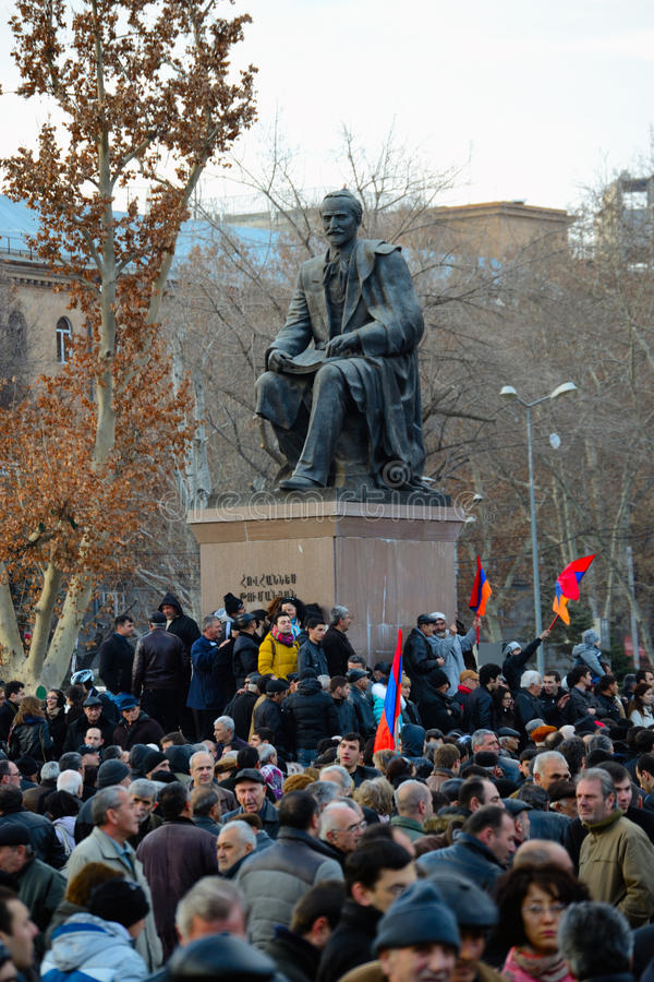 Thousands protest in Armenia against re-elected president. Thousands of people protested in Armenia's capital Yerevan on Friday against the re-election of stock images