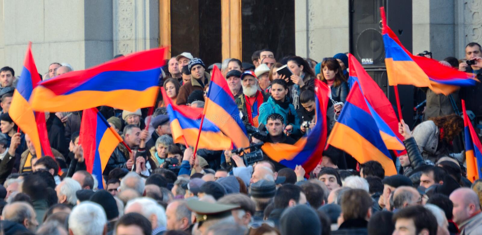Thousands protest in Armenia against re-elected president. Thousands of people protested in Armenia's capital Yerevan on Friday against the re-election of stock photography