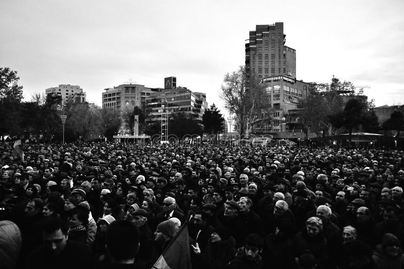 Thousands protest in Armenia. Thousands of people protested in Armenias capital Yerevan on Friday against the re-election of President Serzh Sarksyan, asserting royalty free stock photo